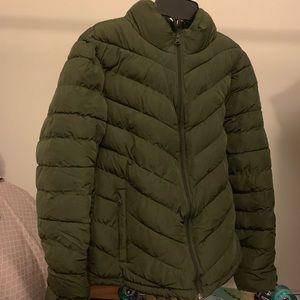 Gap Puffer Jacket OLIVE GREEN Women's SMALL LK NEW